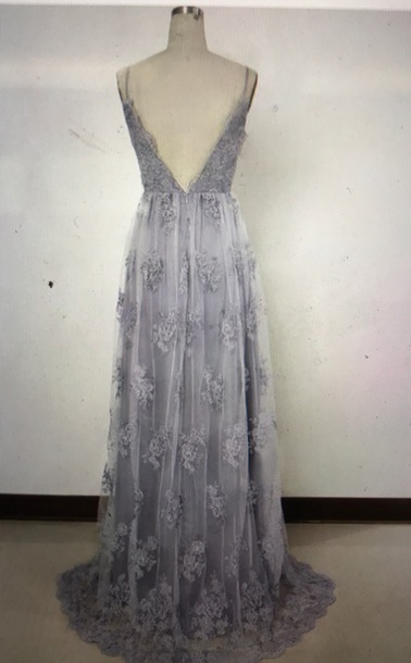 dress grey prom prom dress boho lace dress
