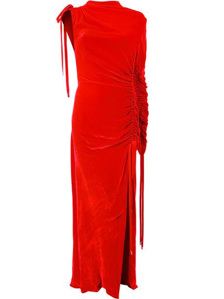 dress women fit drawstring silk red