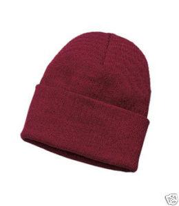 """Superior 12"""" beanie acrylic knit cap maroon ski new"""