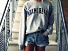 Miami Beach sweater with denim shorts - Fashion Picture