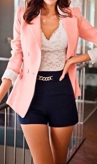 jacket blazer pink baby pink