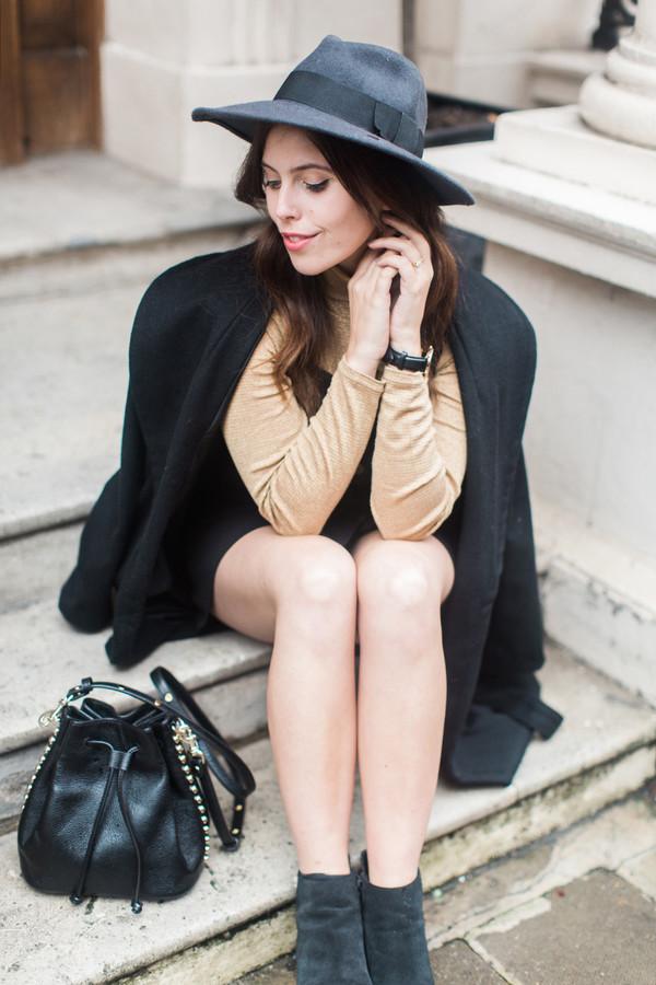 3a38e79be wish wish wish, blogger, coat, top, bucket bag, classy, felt hat ...