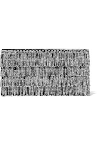 embellished clutch suede silver bag
