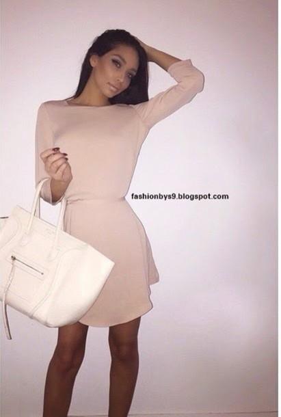 dress cream dress pretty bag celine designer bag white dress cream trendy fashion classy