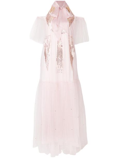 dress gown women silk purple pink