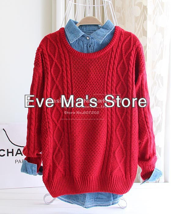 2013 Fashion woollen winter warm pullover sweater women Vintage Knitwear Design lady o neck wool oversized knitted red sweaters-in Pullovers from Apparel & Accessories on Aliexpress.com
