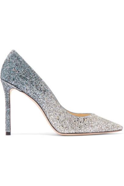 Jimmy Choo suede pumps 100 pumps silver suede shoes