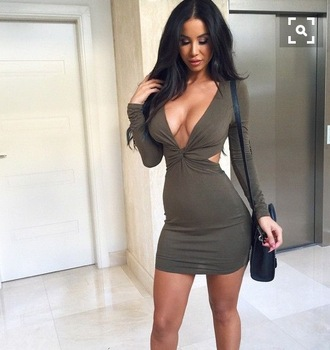 dress mini dress bodycon dress deep v dress green dress long sleeve dress sexy vegas