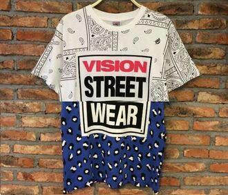 t-shirt street vision bandana blue white hip hop