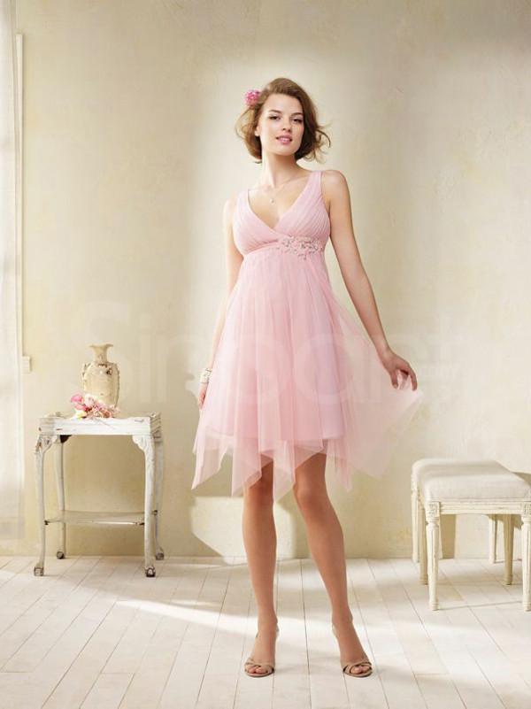 dress pink prom dress sleevelesss  v-neck     empire waistline