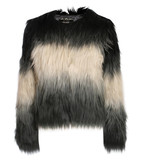 Florence ombre ostrich faux fur jacket in black