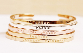 jewels bangle bracelets jewelry accessories bling quote on it love dream peace friendship imagine live your dreams love loyalty friendship new years resolution stacked bracelets gold bracelet gold silver assorted rose gold braclets
