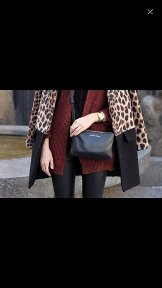 coat leopard print colorblock fall outfits