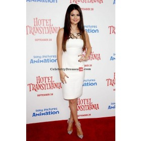 Selena Gomez White Sleeveless Short Cocktail Celebrity Dresses 'Hotel Transylvania' LA Premiere