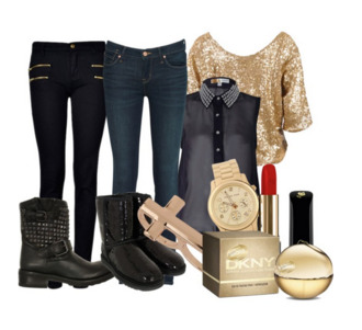 cute jeans blouse sequin top sequins new year's eve boots ring red lipsstick
