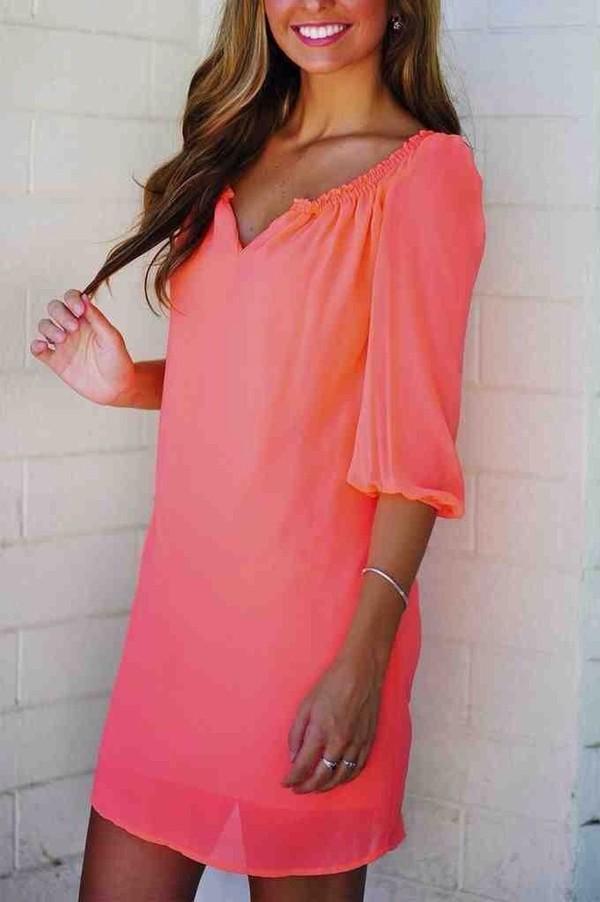 dress coral summer dress