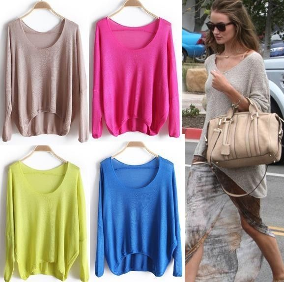 Ladies Fashion Casual Batwing Round Neck Knitted Jumper Loose Pullover Sweater J | eBay