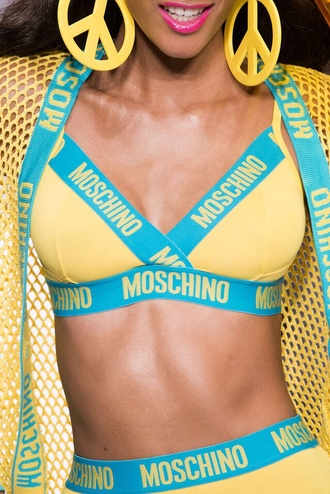 swimwear ss15 moschino yellow fashion show barbie mfw leather pants light blue pearl shirt high black heels