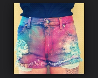 shorts galaxy print ripped shorts distressed high waisted jeans distressed high waisted shorts