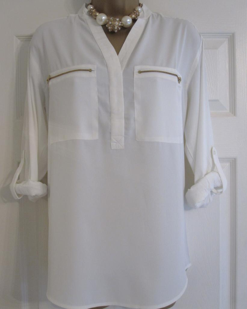 New ex next ivory white zip pocket summer top blouse shirt 8 10 12 14 16 18 20