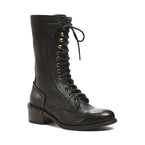 CAYNINE BLACK LEATHER women's boot mid casual - Steve Madden