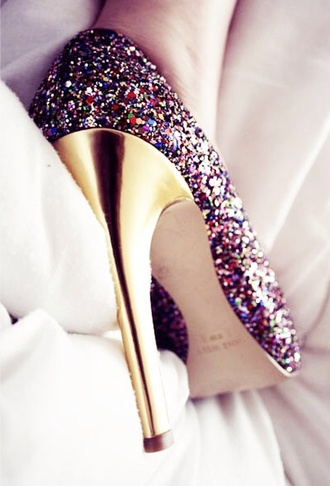 shoes high heels glitter shoes high heel pumps multicolor