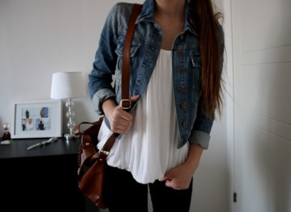 white blouse jacket cute bag beautiful summer jeans shirt tank top white white tank top tank top flowy denim jacket denim leggings coat jeans blue ruffle brown blouse flouncy outfit jean jackets top white shirt casual clothes hot cute top denim jacket tumblr outfit
