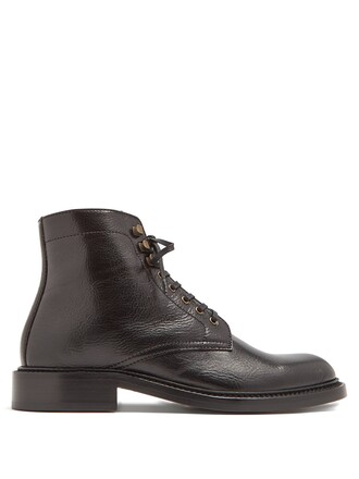 leather ankle boots ankle boots lace leather black shoes