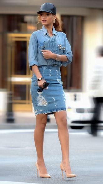 shirt skirt denim denim shirt rihanna style rihanna streetstyle