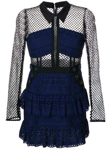 self-portrait dress short dress short women cotton blue