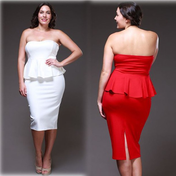 dress, peplum dress, strapless dress, plus size dress ...