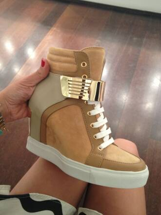 shoes sneakers gold beige italy wedges high top sneakers