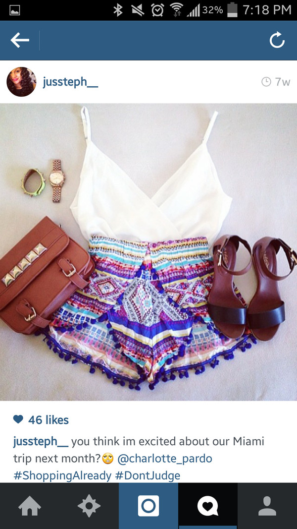 shorts fringes pom pom shorts colorful shoes blouse