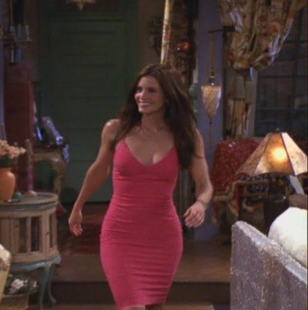 Dress, Courtney Cox, Friends Tv Show, Pink, Pink Dress