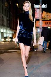 shoes,velvet,velvet dress,martha hunt,model off-duty,mini dress,date outfit