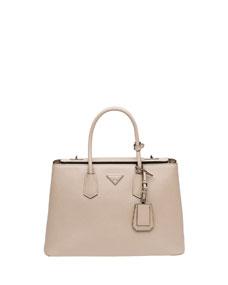 Prada Saffiano Cuir Twin Bag, Light Gray (Pomice)