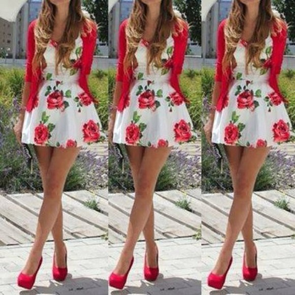jacket sweater red jacket dress flowers dress mini dress red high heels shoes