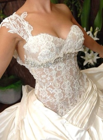 dress wedding dress lace wedding dress white lace dress lace dress one shoulder bling dress beaded dress sparkly dress beautiful gorgeous