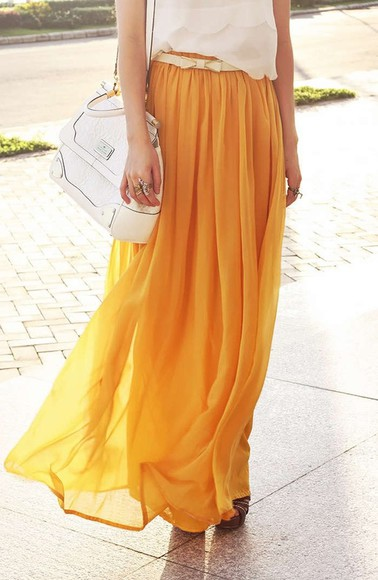 skirt long skirt cute billowy golden yellow