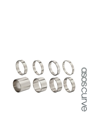 ASOS Curve | ASOS CURVE Pack of 8 Smooth Rings at ASOS