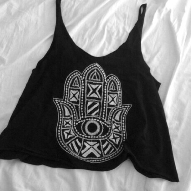 tank top hamsa black tank top black t-shirt tshirt.