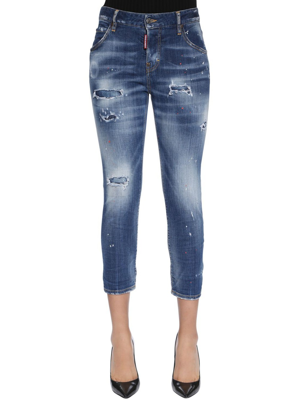 DSQUARED2 Cool Girl Cropped Destroyed Denim Jeans in blue