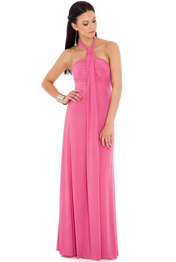 dress maxi halter neck flattering gathered flowing summer