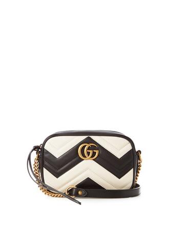 quilted bag shoulder bag leather white black