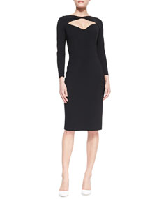 La Petite Robe by Chiara Boni Long-Sleeve Open-Neck Cocktail Dress