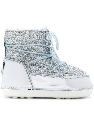 snow boots glitter women snow boots lace wool grey metallic shoes