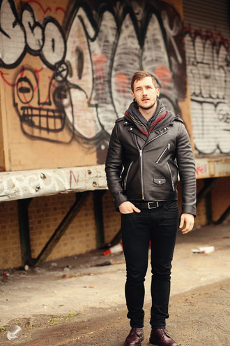 this fellow blogger jacket scarf jeans belt shoes