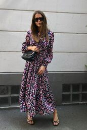 dress,long dress,floral,sunglasses,bag,shoes