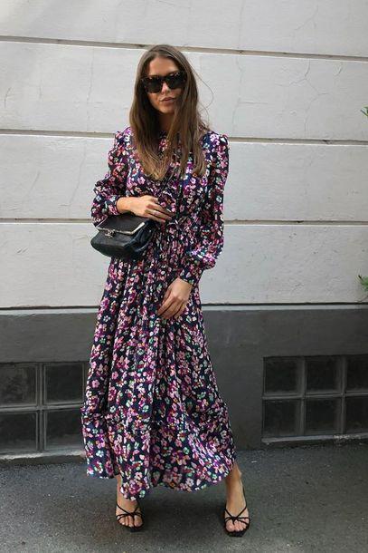 dress long dress floral sunglasses bag shoes