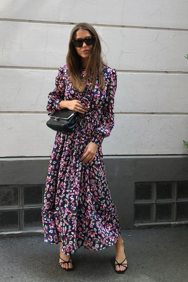 dress long dress floral sunglasses bag shoes